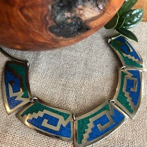 Vintage Mexico Silver Turquoise Aztec Necklace